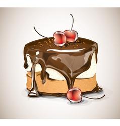 Chocolate cake with cherries vector