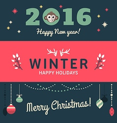 Christmas and New Year Cute Hand Drawn Decorative vector image