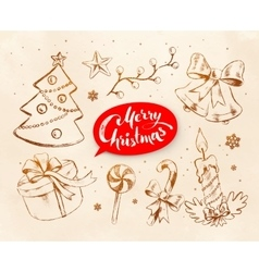 Christmas vintage line art set vector