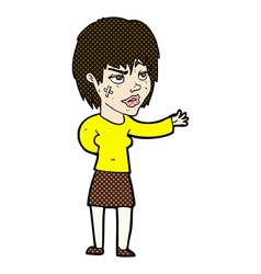 Comic cartoon woman with sticking plaster on face vector