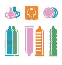 Condoms pictograms vector