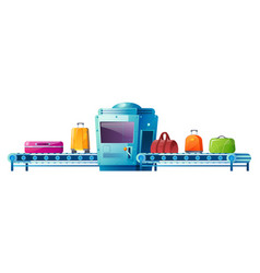 Conveyor belt with luggage in airport terminal vector
