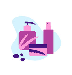 cosmetic care products with aloe in flat style vector image