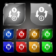 Currency exchange icon sign Set of ten colorful vector image