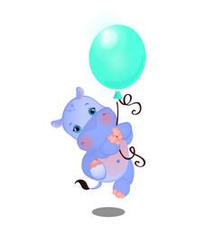 Cute animated baby hippo flies on a balloon vector
