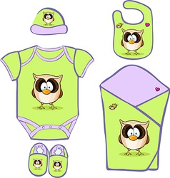 Cute Baby Layette with cute owl vector