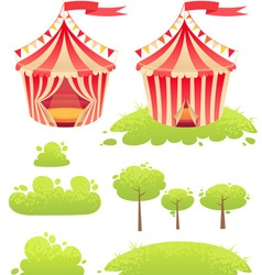 Cute cartoon tent show circus with set of banners vector