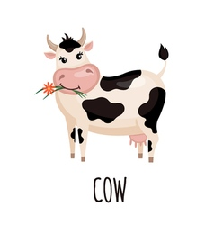 Cute cow in flat style vector image