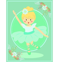 Cute Turquoise Ballerina Girl vector