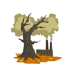 Dead tree and polluting factory ecological vector