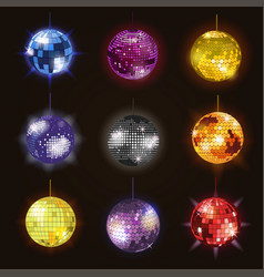 disco balls discotheque dance music party vector image