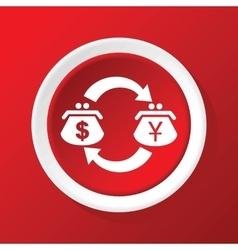 Dollar-yen exchange icon on red vector
