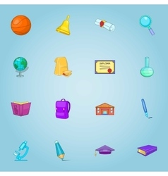Education icons set cartoon style vector image