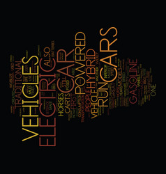 electric hybrid vehicles text background word vector image