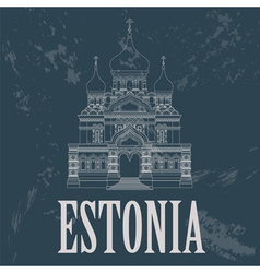 Estonia landmarks Retro styled image vector