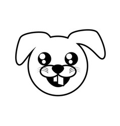 face dog animal outline vector image