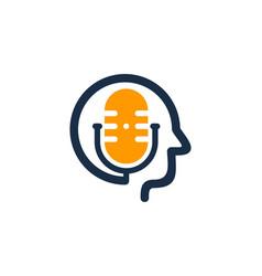 Face podcast logo icon design vector