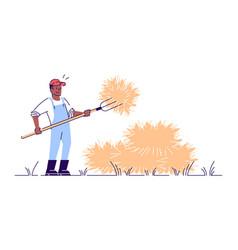 Farmer with pitchfork flat character autumn vector