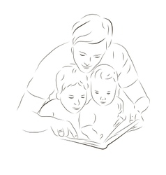 Father and sons reading a book vector image