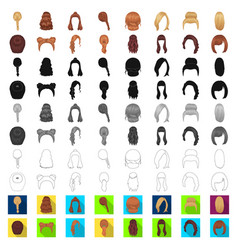 female hairstyle cartoon icons in set collection vector image