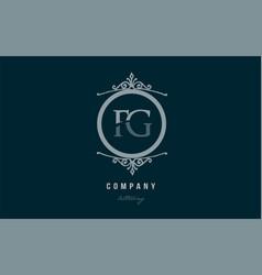 fg f g blue decorative monogram alphabet letter vector image