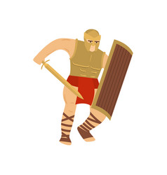 fighting strong legionary in steel armor isolated vector image