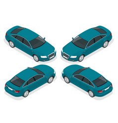 flat 3d isometric high quality city sedan car vector image