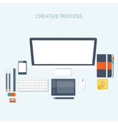 Flat header Workplace vector image