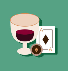 Flat icon design collection ace chip poker cup in vector