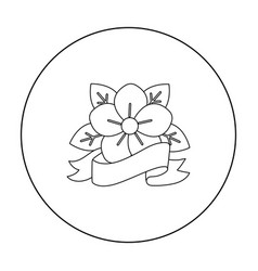 Flower tattoo emblem icon outline single tattoo vector