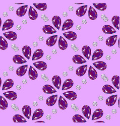 Flowers from precious stones seamless pattern vector