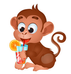 Funny lovely monkey drink with fruit juice or vector