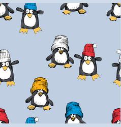 Funny penguins in caps vector