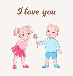 Girl and boy romantic card cartoon cute vector