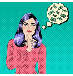 Girl Dreaming About Money Dreaming Woman vector