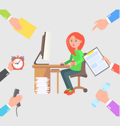 Girl works on computer and recieve more tasks vector