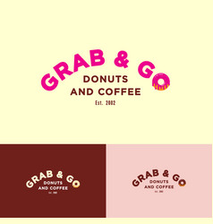 grab go logo letter o like donut with cream vector image