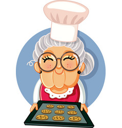 granny chef holding a tray homemade cookies vector image