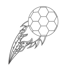 grayscale contour with olympic flame with soccer vector image