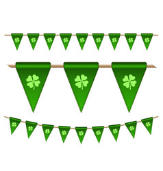 green festive flags with clovers vector image