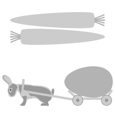 Grey rabbit pulls a cart with egg and carrot vector