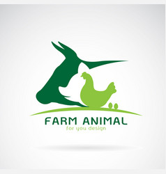 group of animal farm label cowpigchickenegg vector image
