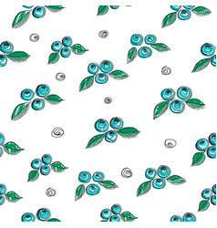 hand drawn seamless pattern with blueberry vector image