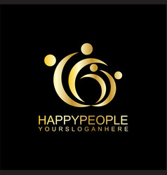 happy people business logo vector image