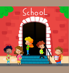 happy school kids go to school vector image