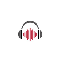 Headphones with rhythm beating a headset for logo vector