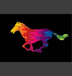 horse racing running cartoon graphic vector image