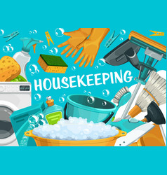 housekeeping house cleaning service clean home vector image