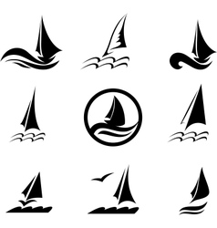 Icons with image yachts on a white vector
