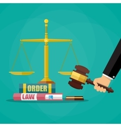 Judge gavel with law books and scales vector image